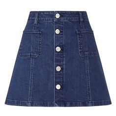 Ariana Grande For Lipsy Button A Line Denim Skirt ($56) ❤ liked on Polyvore featuring skirts, mini skirts, clothing - skirts, mini skirt, blue denim skirt, short skirts, denim skirt and summer skirts