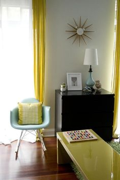 love the color in this room!  Small Space Lessons: Floorplan & Solutions from Joann's Truly Happy Home