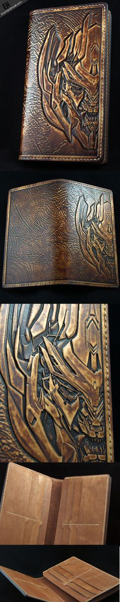 Handmade Transformers Decepticons Megatron carved leather long wallet | EverHandmade