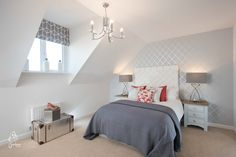 Grey, pink and white master bedroom, new home, 4 bedroom townhouse.