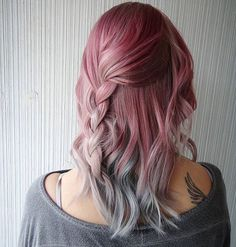 "tattoosandpastel: "" Pink with grey-ish blue ombre by @sussyxos """