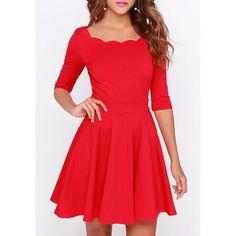 Charming Scoop Collar Half Sleeve Solid Color Women's Dress