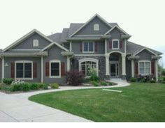 Best Gray House Burgundy Shutters White Trim Photo This Photo 640 x 480