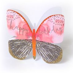 """Beautiful butterfly birthday card for your wife, with caption: """"Happy birthday Wife"""""""