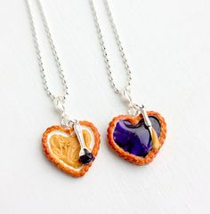 Peanut Butter Grape Jelly Best Friends Necklaces - Food Jewelry - Best Friends Jewelry