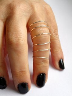 Silver wire full finger ring Long silver spiral wire by GemmaJolee