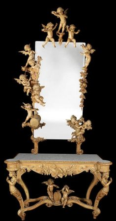 Late 19th Century Italian 'Exhibition Type' Carved Limewood Console Table & Mirror