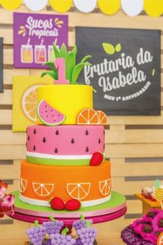 Ideas For Party Decorations Simple Birthday Fruit Birthday, 2nd Birthday Party Themes, Watermelon Birthday, Summer Birthday, Birthday Party Decorations, Cake Birthday, Tutti Frutti, Tutti Fruity Party, Summer Cakes