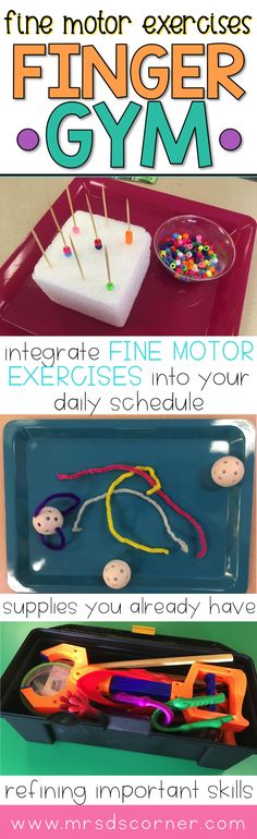 Fine Motor exercises are an important part of any child's curriculum and learning experience. Learning how control your hands and refining those hand muscles help a child learn how to do important, every day life skills like feeding, wiping, zippering, and tying shoes. Enter: Finger Gym. Guest Blog post by The SPED Head at Mrs. D's Corner.