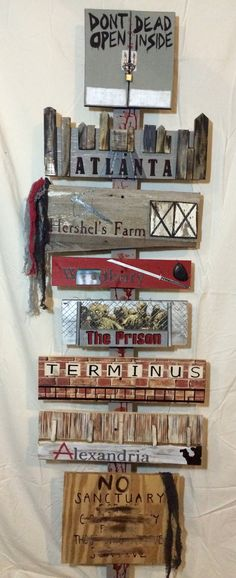 The Walking Dead Locations Sign Hand Painted by TheTrashySide