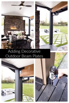Decorative Outdoor Beam Plates - Taryn Whiteaker Outdoor Spaces, Outdoor Living, Outdoor Decor, Post And Beam, Types Of Craft, Cool Diy Projects, Beams, Diy Home Decor, Pergola