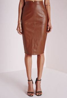 Missguided - Faux Leather Midi Skirt Tan   Wardrobe inspo ...