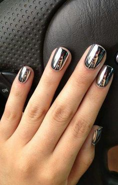 Our favorite nail designs, tips and inspiration for women of every age! Great gallery of unique nail art designs of 2017 for any season and reason. Find the newest nail art designs, trends & nail colors below. Metallic Nail Polish, Nail Polish Colors, Silver Nails, Polish Nails, Nail Polishes, Shiny Nails, Acrylic Nails, Mirror Nail Polish, Color Nails