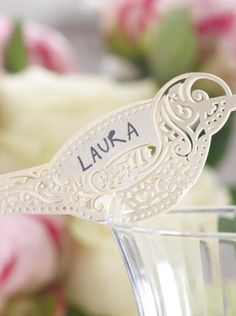 Vintage lace place card for glass ivory - Wedding Shop South Africa Wedding Name Tags, Ivory Wedding, Vintage Lace, South Africa, Place Cards, Glass, Shop, Drinkware, Corning Glass