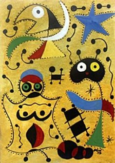 Woman And The Son At Night - Oil on Paper - Joan Miro - Gaven Gascoigne Dali, Joan Miro Paintings, Oil Painting On Paper, Spanish Painters, Art Moderne, Surreal Art, Art Pages, Artist Art, Online Art
