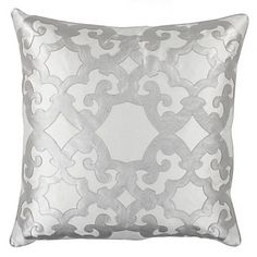 Pinners must love the how the silver faux leather brings an edge to a sophisticated pattern. #ZGallerie Boulevard Pillow, $69.95