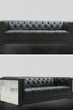 Chesterfield Aviator Sofa-Black Our Kennedy collection is hand crafted by skilled artisans with genuine imported Brazilian top grain leather.  The frame is built from solid eucalyptus wood and the legs are crafted from solid pine wood.  The cushioning does not need to be periodically re-fluffed since it is a 50% blend of duck feather and foam specially designed for comfort and practicality.  The Kennedy sofa is an investment that will last for the years to come. Chesterfield Sofas, Black Sofa, Solid Pine, Distressed Leather, Leather Sofa, Love Seat, Living Spaces, Aviation, Feather