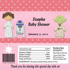 Jedi Baby Shower Party Candy Bar Wrapper Party Favor Digital or Printed FREE SHIPPING Leia Pink by PartiesR4Fun on Etsy