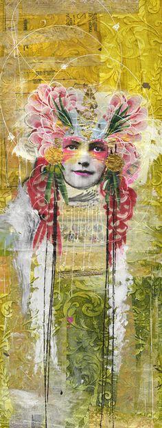 Goldie by Anahata Katkin. Mixed media wallpaper panel