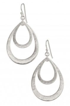 Sterling Silver Textured Double Teardrop Hoops | Lakin Teardrops | Stella & Dot