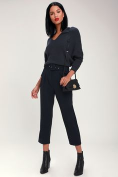 Pick up the Lulus Power Moves Navy Blue Belted Trouser Pants for a bold work-week chic look! A square buckle, fabric belt tops off these pleated trouser pants. Navy Pants, Trouser Pants, Work Week, High Waist, Navy Blue, Belt, Pockets, Touch, Zip