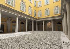 -- Via Cusani 5, Milano: Palazzo Cagnola --  Il cortile interno dello splendido Palazzo Cagnola