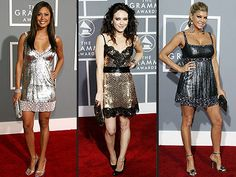 Red carpet glam - short and sparkly. Recycled metal or shiny materials would work well for this.