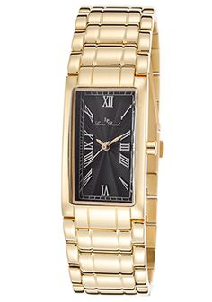 Lucien Piccard Marchesa Black Textured Dial Gold-Tone Stainless Steel Watch $119.99