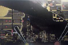 """Ron Herron, Wędrujące miasto- Nowy Jork nocą, rysunek z czasopisma """"Archigram"""" z 1964"""