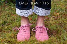 DIY jeans refashion: DIY Lacey Jean Cuffs