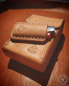 Items for sale by Leather Cigarette Case, Vintage Cigarette Case, Personalised Gifts Handmade, How To Make Leather, Leather Bag Pattern, Lighter Case, Leather Craft Tools, Leather Keychain, Handmade Leather