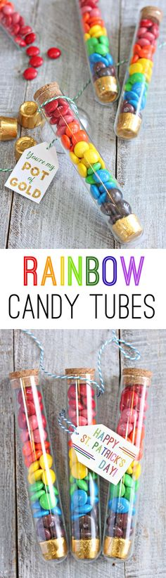 Rainbow Candy Tubes are an easy St. Patrick's Day gift idea. Get these two printable gift tags for free and make them this year! | From candy.about.com #Rainbows