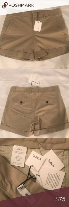 Vince new w/tags khaki shorts reg $175 size 6 Brand new with tags attached high quality comfortable women's khaki shorts size 6 reg $175 Vince Shorts