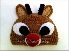 RUDOLPH The Red Nosed Reindeer Crochet Hat by KariesCrochetDesigns, $19.99