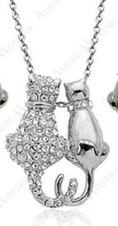 Crystal Cat Necklace New Pendant Silver Plated Charm Two Cats Heart Tails Love #Unbranded #Pendant