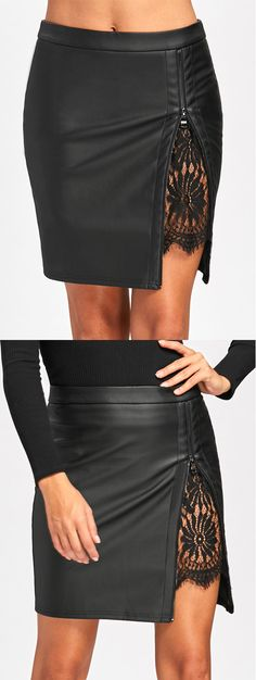 Lace Insert Faux Leather Fitted Skirt