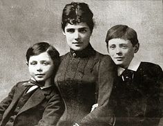 Jennie Jerome Churchill and sons circa 1889- she was a Gilded Age Heiress like Lady Grantham on Downton Abbey...only real.