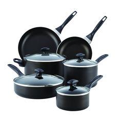 Farberware Dishwasher Safe Aluminum Nonstick 14-Piece Cookware Set, Black >>> Visit the image link more details.
