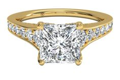 Tapered Pavé Princess-Cut Diamond Band Engagement Ring in Yellow Gold, by Ritani