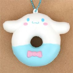 white blue Cinnamoroll donut squishy charm for cellphone or bag