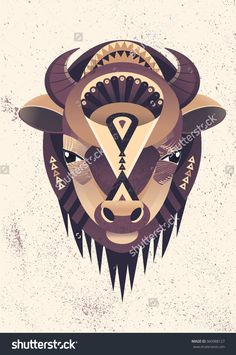 Vector Illustration Of Buffalo Head. Vector Poster With Bison In Geometric Style. - 360988127 : Shutterstock