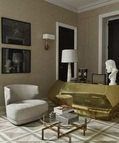 Arteriors lamp, Bardeaux Meuble desk, Baxter armchair, Dune Varela photos, walls upholstered in  Donghia fabric