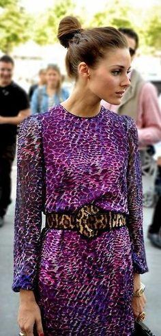 American fashionista Olivia Palermo wears animal print.