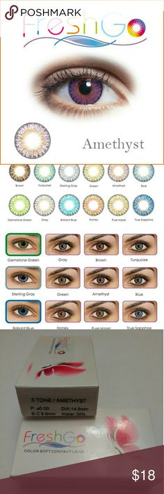 Amethyst colored contact lenses (non-prescription) Brand new unopened non-prescription fresh-go colored contact lenses beautiful 3 tone colors soft flexible comfortable durable construction Diameter 14.5 term of use one year!! For cosmetic use Only non-prescription FRESH GO Other
