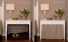 """DIY Dog Crate Table with skirt and 36"""" crate... this would work for the little dog but not the big dog"""
