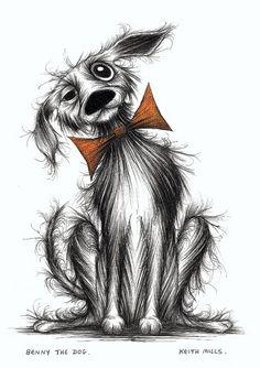 Benny the dog Pooch in bow tie Original ink pen drawing