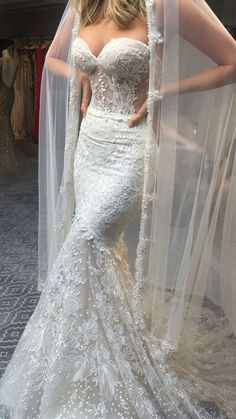 Stunning Embellished Strapless Sweetheart Mermaid Wedding Dress / Bridal Gown Open Back and Long Train. Dress by Pallas Couture Plain Wedding Dress, Sexy Wedding Dresses, Gorgeous Wedding Dress, Wedding Attire, Bridal Dresses, Wedding Gowns, Lace Dresses, Lace Weddings, Groom Dress