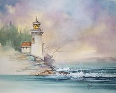 Image result for abstract painting lighthouse mist