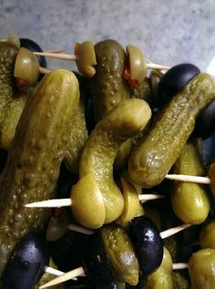 Kosher Petite Pickles and olives. Pure Romance party food.
