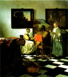 Johannes Vermeer The Concert, , Isabella Stewart Gardner Museum, Boston. Read more about the symbolism and interpretation of The Concert by Johannes Vermeer. Johannes Vermeer, Rembrandt, Lost Art, Van Gogh Museum, Art Museum, Bode Museum, Vermeer Paintings, Art History, Fine Art